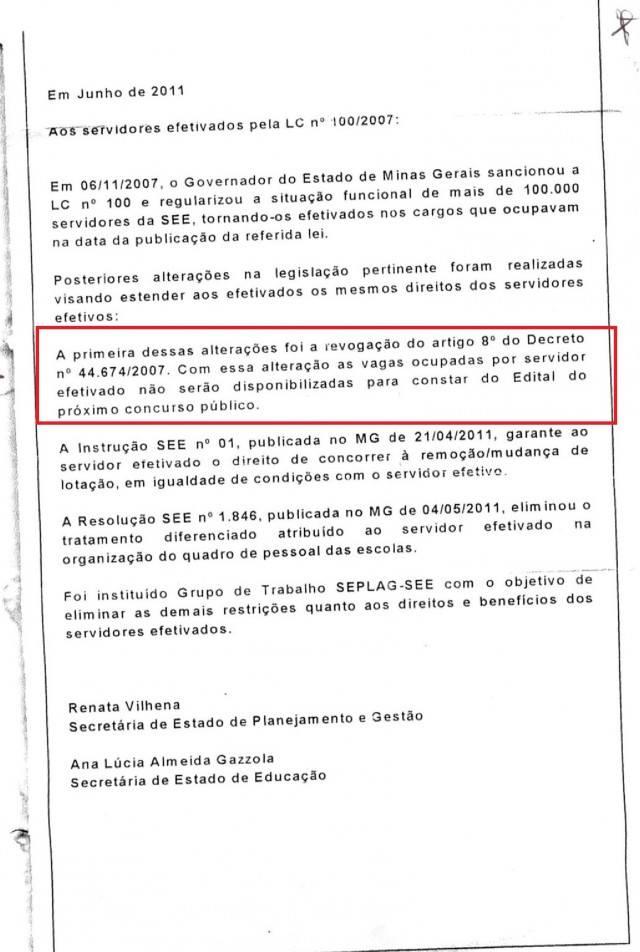 Carta enviada aos Servidores em 2007